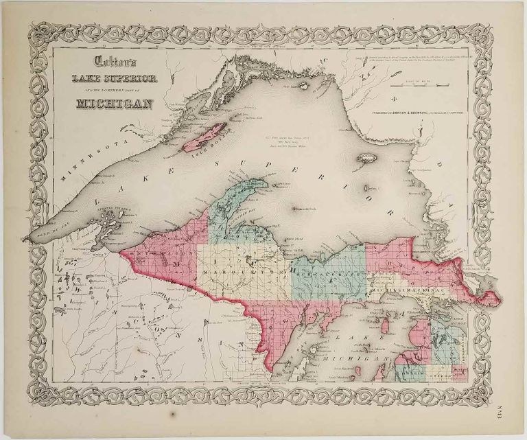 Colton's Lake Superior and the Northern Part of Michigan. MICHIGAN - LAKE SUPERIOR MAP.