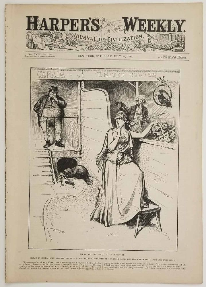 What Are We Going to Do About It? In COMPLETE ISSUE of Harper's Weekly. July 21, 1883. IMMIGRATION / CANADA / FISHING / LOUISIANA.