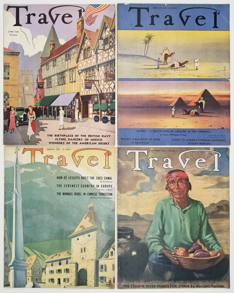 Travel. February, March, June, November 1938. [VINTAGE MAGAZINE - FOUR ISSUES]. CHINA / IMPERIAL JAPAN / SUEZ CANAL / IDAHO.