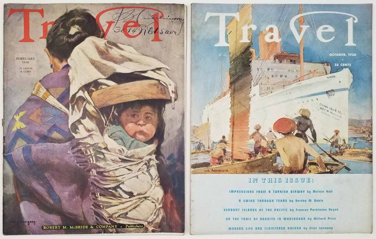 Travel. February and October 1936. [TWO ISSUES]. EVERGLADES / OXFORD / COLONIAL WILLIAMSBURG.