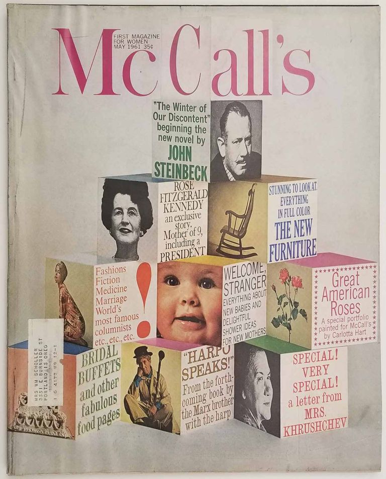 McCall's. May 1961. [including first part of John Steinbeck's THE WINTER OF OUR DISCONTENT]. JOHN BRIDAL / BIRTHS / STEINBECK.