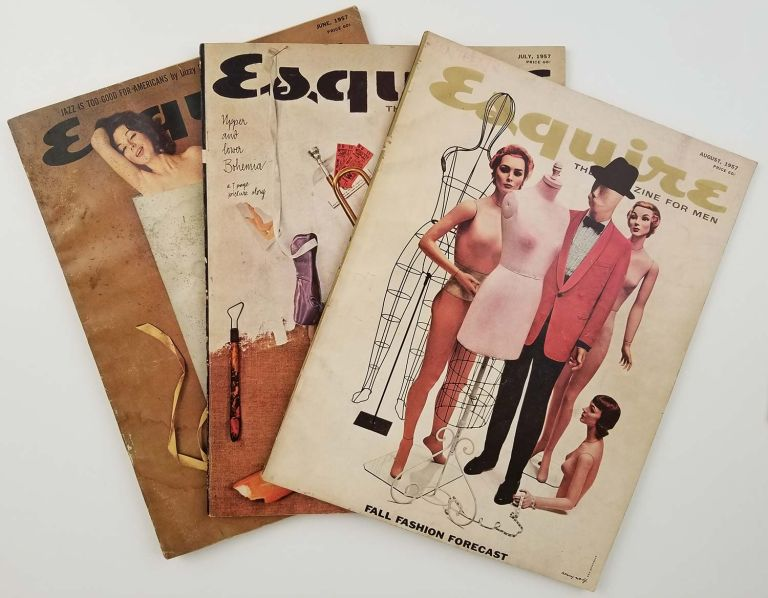 Esquire. The Magazine for Men. June, July, August 1957. [THREE ISSUES OF VINTAGE MAGAZINE]. CARS - SPORTS, John Steinbeck, Brendan Behan.