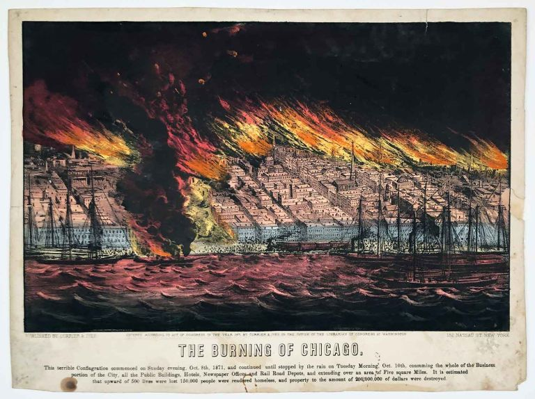 The Burning of Chicago. ILLINOIS - CHICAGO - FIRE OF 1871.