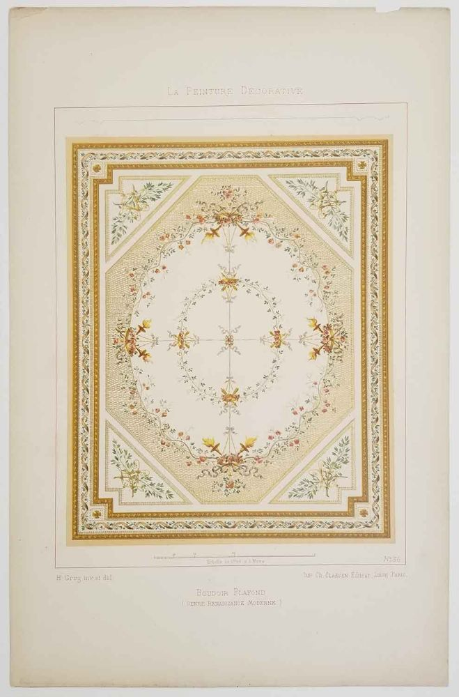 "La Peinture Decorative. [group of SEVEN PLATES in folder titled ""Decorations Malereien""]. DECORATIVE ARTS - 18th - 19th CENTURY, H. Gruz."