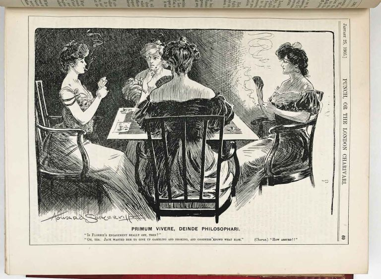 Punch, or the London Charivari. Complete year 1905. Volumes CXXVIII and CXXIX. WOMEN'S LIBERATION / CRICKET.