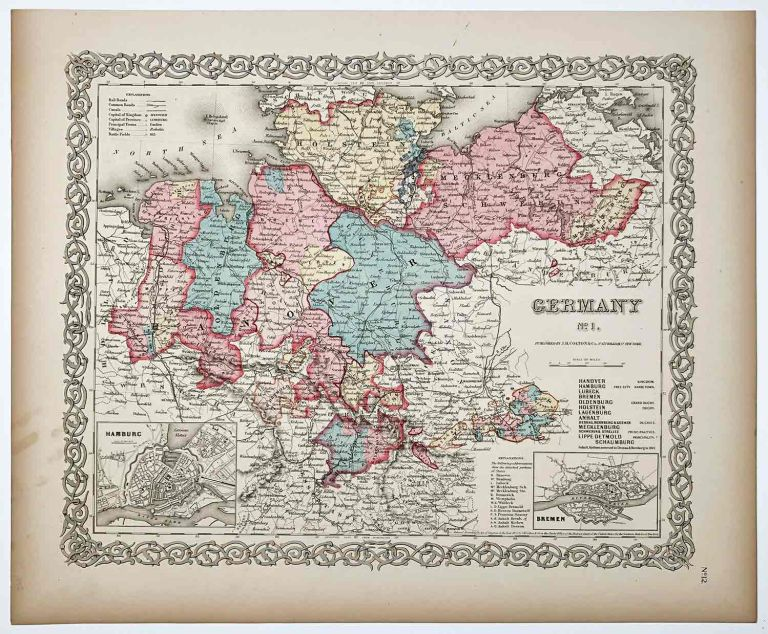 Germany No.1, No.2, No.3. [COLTON THREE MAPS]. GERMANY - HANDCOLORED.