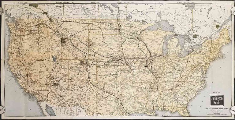 Map of the Burlington Route. The National Park Line and Connections. (Cover title: United States Map and Vacation Guide. The National Park Line Everywhere West). BURLINGTON ROUTE.