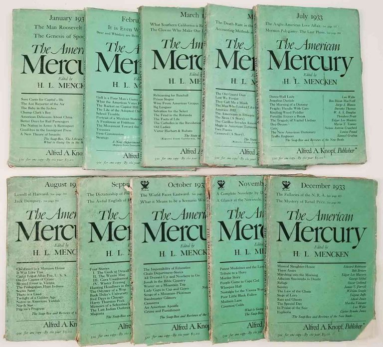 The American Mercury. 1933 10 ISSUES (MISSING APRIL & JUNE). (with two Langston Hughes contributions). LANGSTON HUGHES, H. L. Mencken, Langston Hughes, publisher, articles.