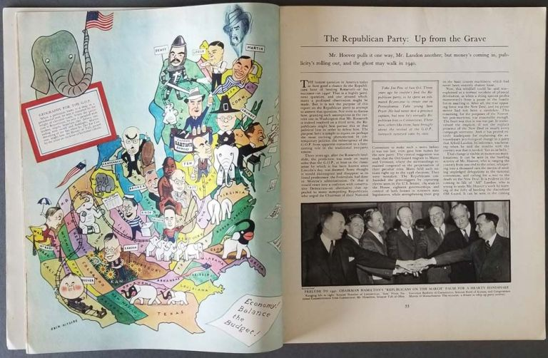 Fortune Magazine. August 1939. PERSUASIVE MAP USA - REPUBLICAN PARTY - LONG ISLAND MAP.