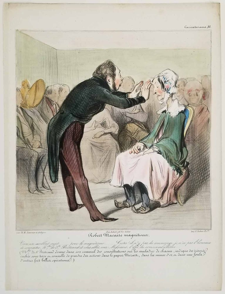 Robert Macaire magnetiseur. Caricaturana 88. CARICATURE - SATIRE OF MANNERS.