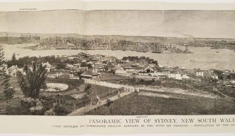 Panoramic View of Sydney, New South Wales. First Settled by Commodore Phillip, January 26, 1788, with 927 Persons. - Population of the Colony, June, 1879 712,019. AUSTRALIA - SYDNEY - PANORAMA.