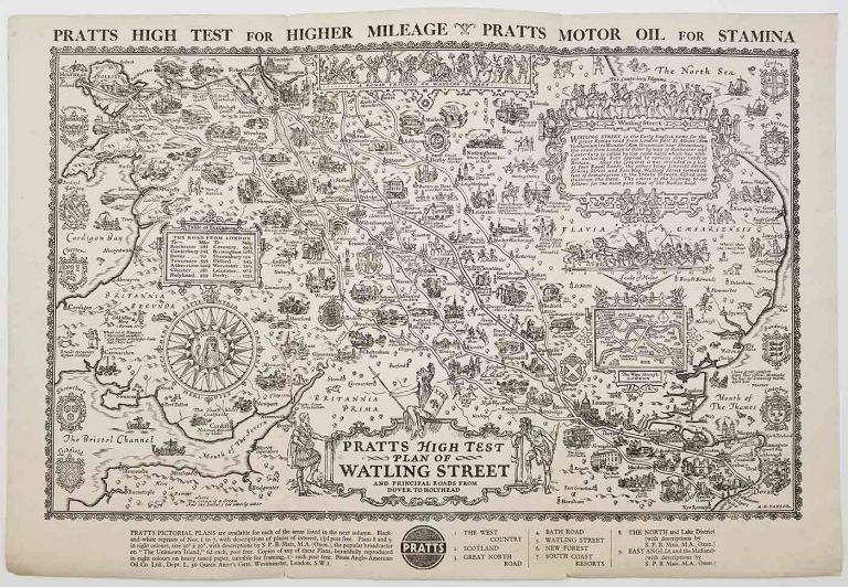 Pratts High Test Plan of Watling Street and Principal Roads from Dover to Holyhead. ENGLAND - SOUTHEAST - LONDON.