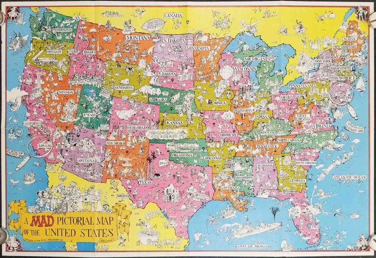 A Mad Pictorial Map of the United States. UNITED STATES - HUMOUR - RESOURCES.