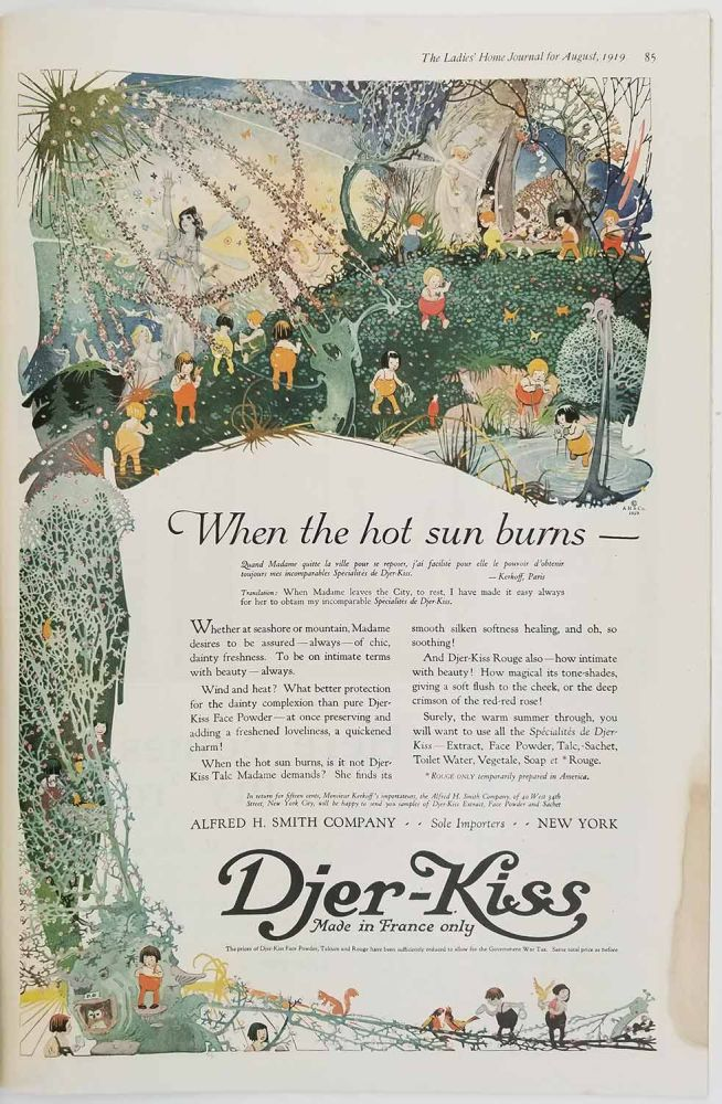 The Ladies' Home Journal. August 1919. PARROT / DJER KISS AD / WORLD WAR I. / FASHION.