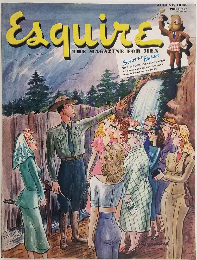 Esquire. The Magazine for Men. August 1948. [VINTAGE MAGAZINE]. COCKTAILS BAR GUIDE - OLYMPICS - PIN-UP, Jimmy Cannon, Al Moore, pin-up.