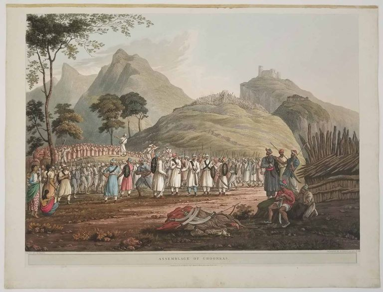 """Assemblage of Ghoorkas. [Plate 14 from the folio edition of """"Views in the Himala Mountains"""" 1820]. INDIA - AQUATINT OF GHURKAS."""