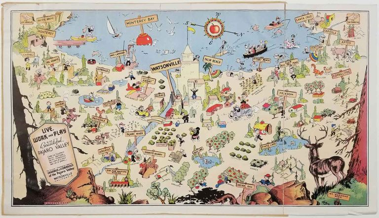 Live, Work and Play in the Beautiful Pajaro Valley. VINTAGE ADVERTISING BROCHURE WITH PICTORIAL MAP. CALIFORNIA - WATSONVILLE.