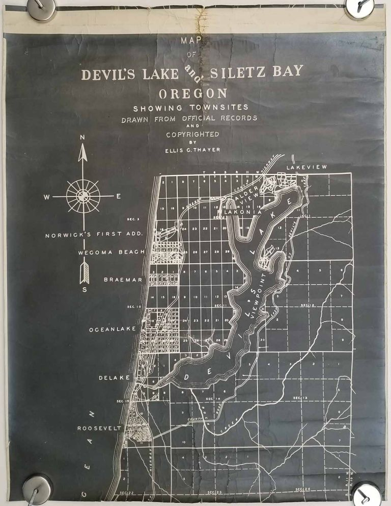 Map of Devil's Lake and Siletz Bay Oregon showing townsites drawn from official records and copyrighted by Ellis G Thayer. OREGON COAST- PRE LINCOLN CITY PLAT MAP.