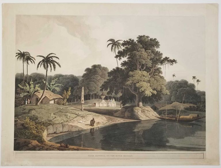 Near Bendell on the River Hoogly. [AQUATINT ENGRAVING]. INDIA - WEST BENGAL.