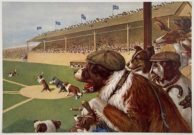 """Dogs Playing Baseball [""""One to Tie, Two to Win"""" vintage color print]. DOGS - BASEBALL."""
