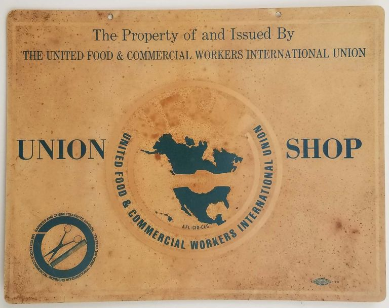 Union Shop COUNTER SIGN [TOGETHER with FOUR ISSUES of] Machinists Monthly Journal. 1946-1947. [FOUR ISSUES OF VINTAGE MAGAZINE]. TRADE UNION SHOP DISPLAY - LABOR ORGANIZING.