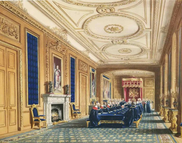 "Throne Room. St. George's Hall. [TWO NASH COLOR LITHOGRAPHS from ""Views of the Interior and Exterior of Windsor Castle.""]. ENGLAND - WINDSOR CASTLE."
