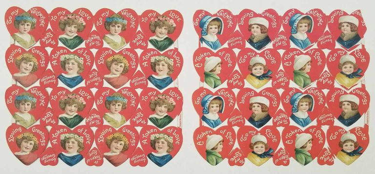 1920s Valentine die-cut uncut sheets. TEN SHEETS. VINTAGE VALENTINE'S DAY CARD.