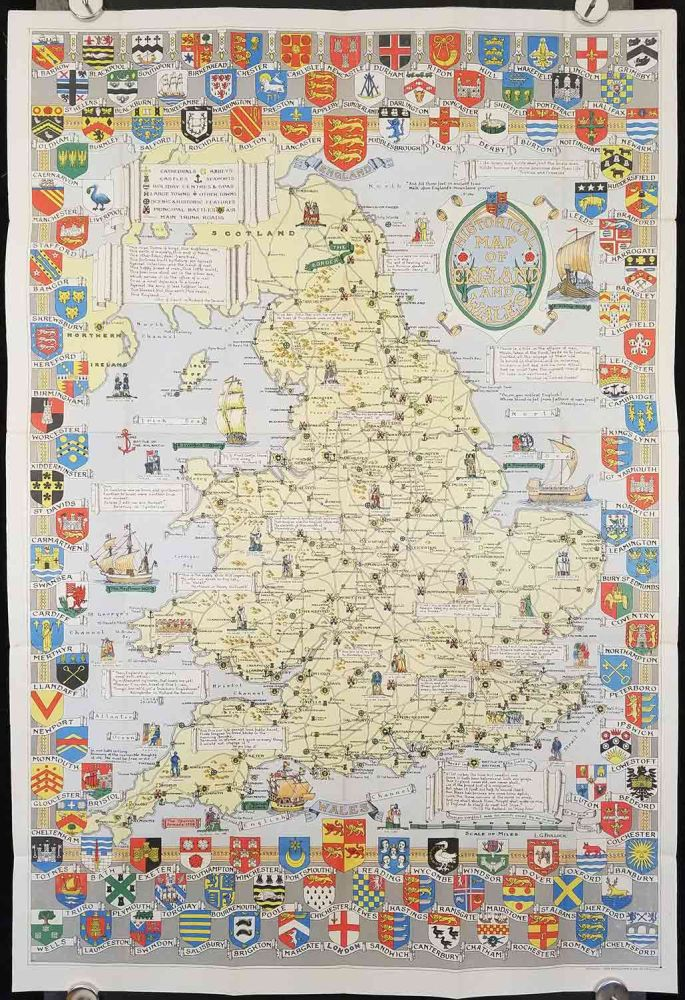 Historical Map of England and Wales. ENGLAND - HERALDIC BADGES.