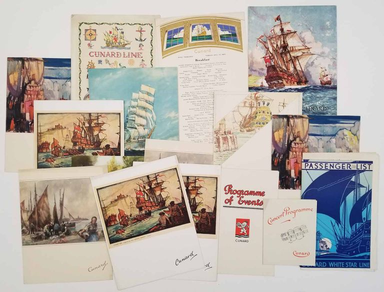 Cunard White Star menus, programs, etc. from World Cruise 1935. LOT OF 16 ITEMS. CUNARD WHITE STAR SHIPPING LINE.