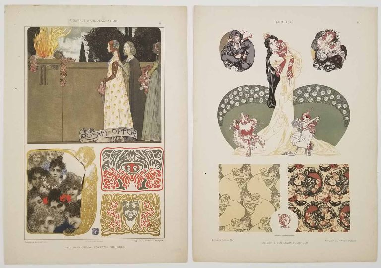 Figurale WandDekoration. Fasching. (Two color lithographs from Decorative Vorbilder XIV and XV). JUGENDSTIL - AUSTRIAN ART NOUVEAU.