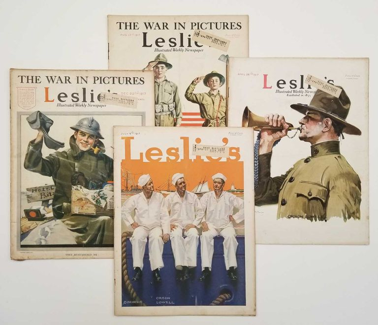 Leslie's Illustrated Weekly Newspaper. SEVEN ISSUES 1911-17. WORLD WAR I. - NORMAN ROCKWELL / ORSON LOWELL.
