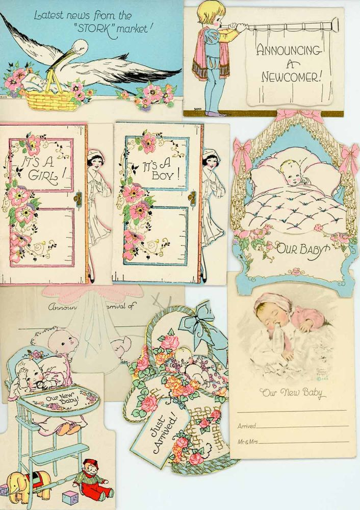 18 Sample Birth Announcement cards from A.M. Davis Company together with Company Letter to Customer. BIRTH ANNOUNCEMENT CARDS 1930.