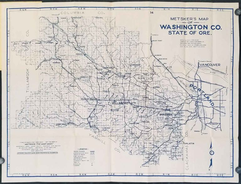 Metsker's Washington County Map Complete Road and Trail Information Unexcelled for the Western Sportsman. (Map title: Metsker's Map of Washington Co. State of Ore). OREGON - WASHINGTON COUNTY - PORTLAND.