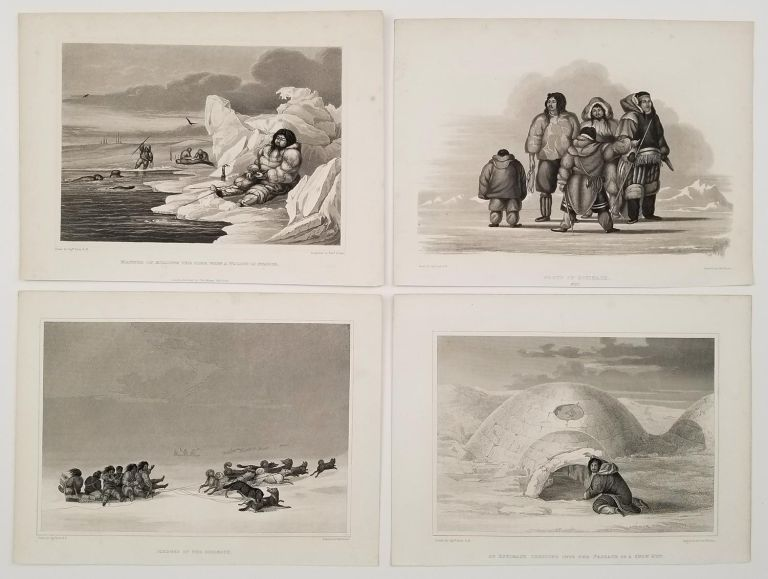 FOUR ENGRAVINGS: Group of Eskimaux; Sledges etc. from: A Brief Narrative of an Unsuccessful Attempt to Reach Repulse Bay. EXPLORATION NORTH POLE ARCTIC 1822.