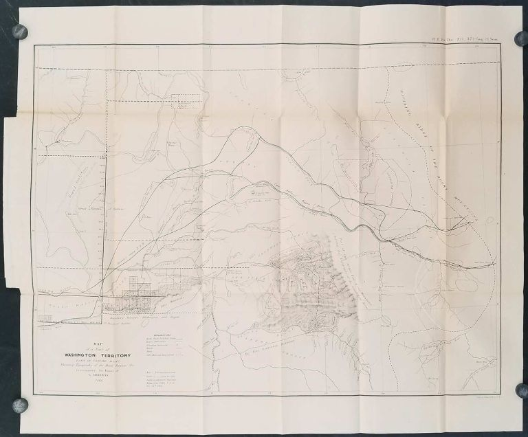 Map of a Part of Washington Territory East of Cascade Mtns Showing Topography of the Mines Region &c. to accompany the Report of E. Giddings. 1862. WASHINGTON TERRITORY GOLD MINING 1862.