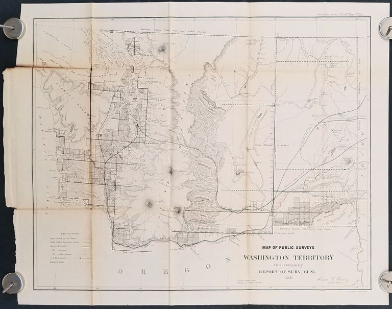 Map of Public Surveys in the Territory of Washington for the Report of Surv: Genl: 1863. WASHINGTON STATE 1863.