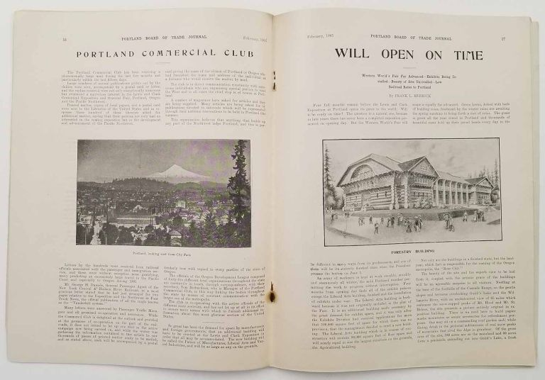 Board of Trade Journal. February 1905. Vol. III - No. 2. (Formerly the Columbia River Journal). OREGON - LEWIS AND CLARK EXPOSITION.