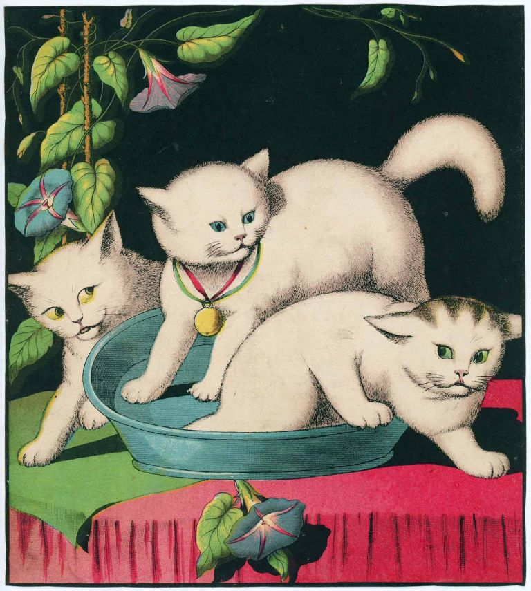 [FOUR Untitled Victorian prints of white cats]. CATS AT PLAY - FOUR 19TH CENTURY BOOKPLATES.