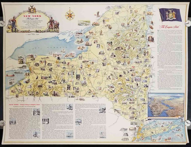 """New York. """"The Empire State"""". A Pictorial Map Featuring Natural Wonders, Scenic Attractions and Historical Sites in the State of New York. NEW YORK STATE - HISTORICAL, RESOURCES."""