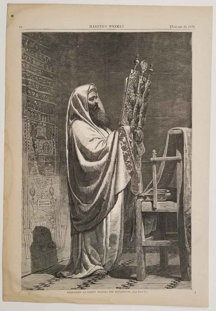High-Priest at Nablus Reading the Pentateuch. JUDAISM - TORAH READING.