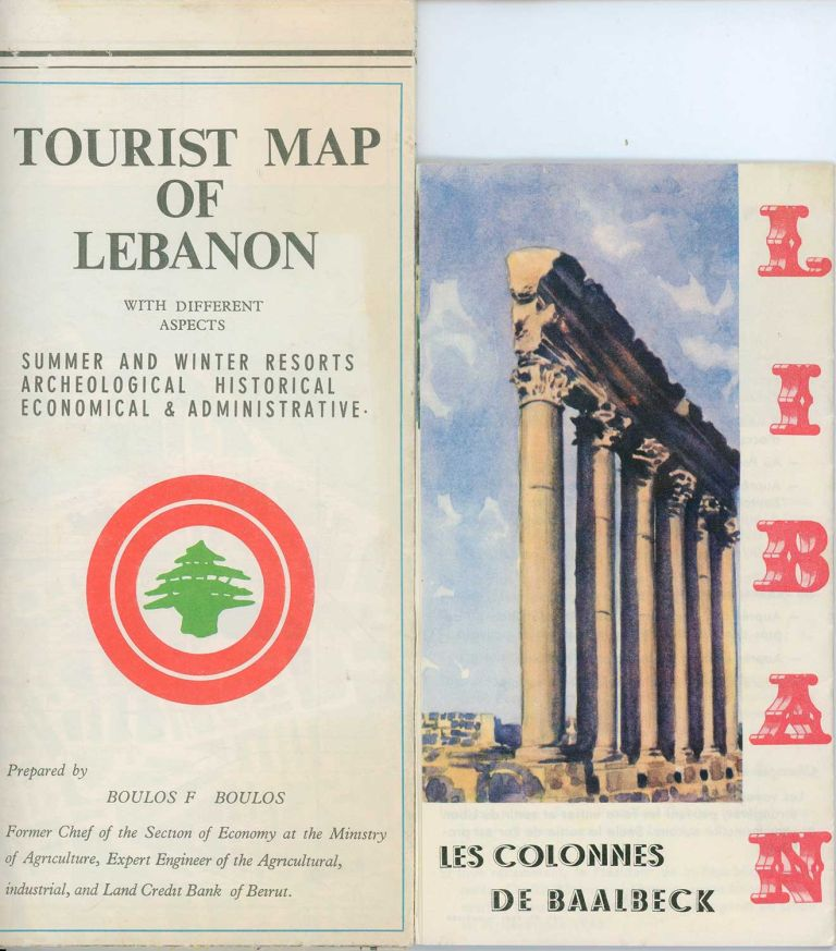 Tourist Map of Lebanon with Different Aspects. Summer and Winter Resorts - Archeological - Historical - Economical & Administrative. / Liban: Terre d'Histoire et de Legendes. LEBANON - TWO MID-CENTURY MAP BROCHURES.