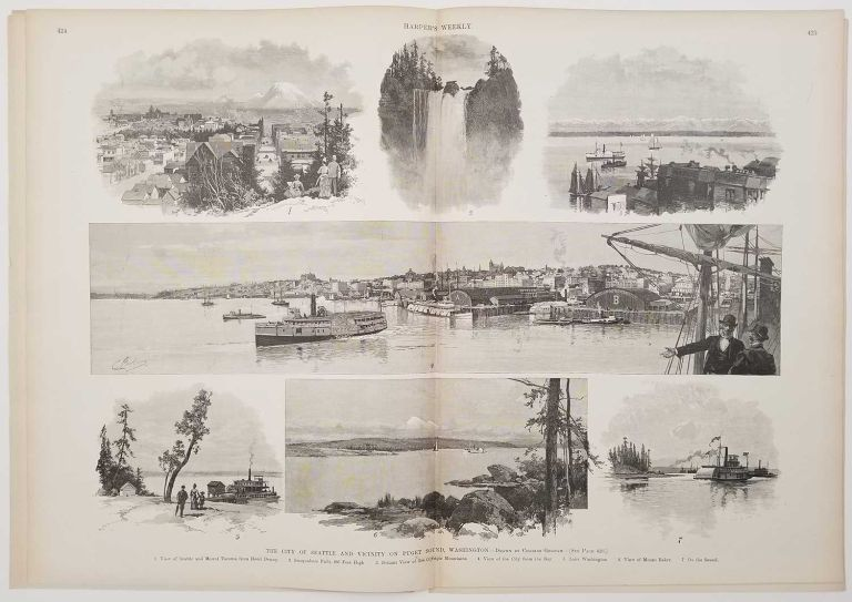 The City of Seattle and Vicinity on Puget Sound, Washington. IN COMPLETE ISSUE OF HARPER'S WEEKLY June 6, 1891. WASHINGTON STATE - SEATTLE.