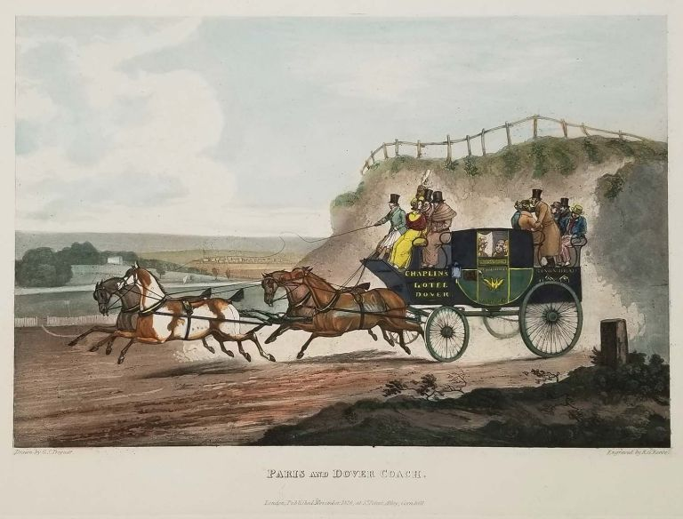 Waking up. / Paris and Dover Coach. TWO VINTAGE REPRODUCTIONS OF ETCHINGS WITH HANDCOLOR. COACHING - 19TH CENTURY ENGLAND.