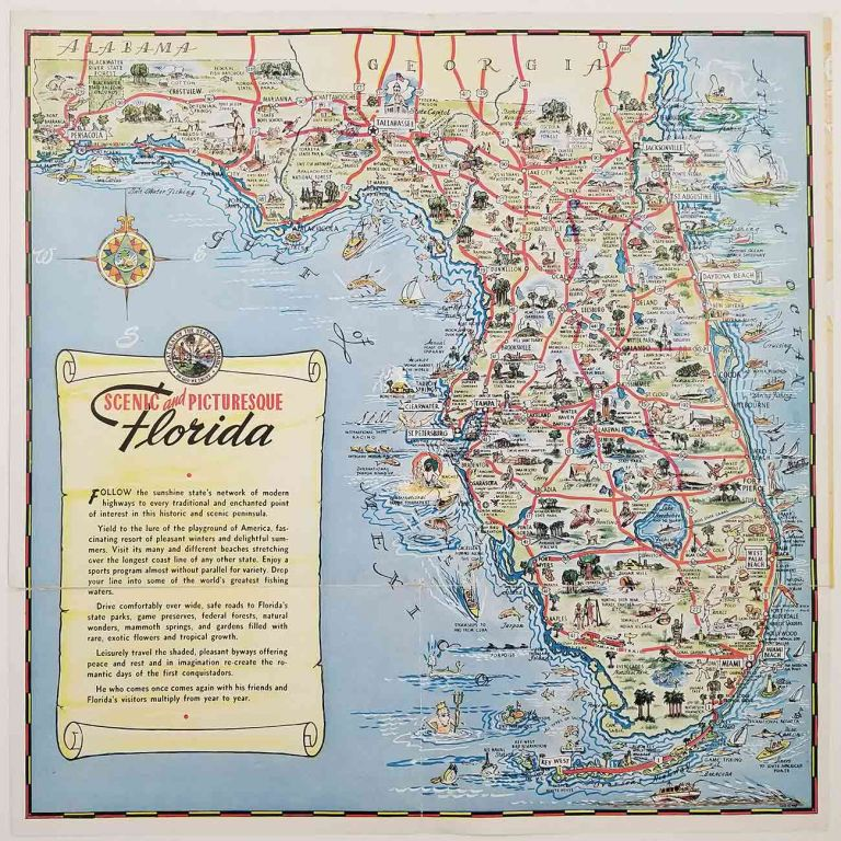 Scenic and Picturesque Florida. FLORIDA - COLOR PICTORIAL MAP.