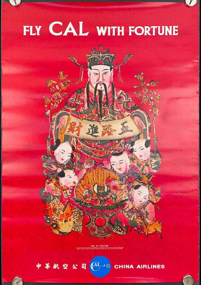 Fly CAL With Fortune. China Airlines. CHINA AIRLINES - GOD OF FORTUNE.