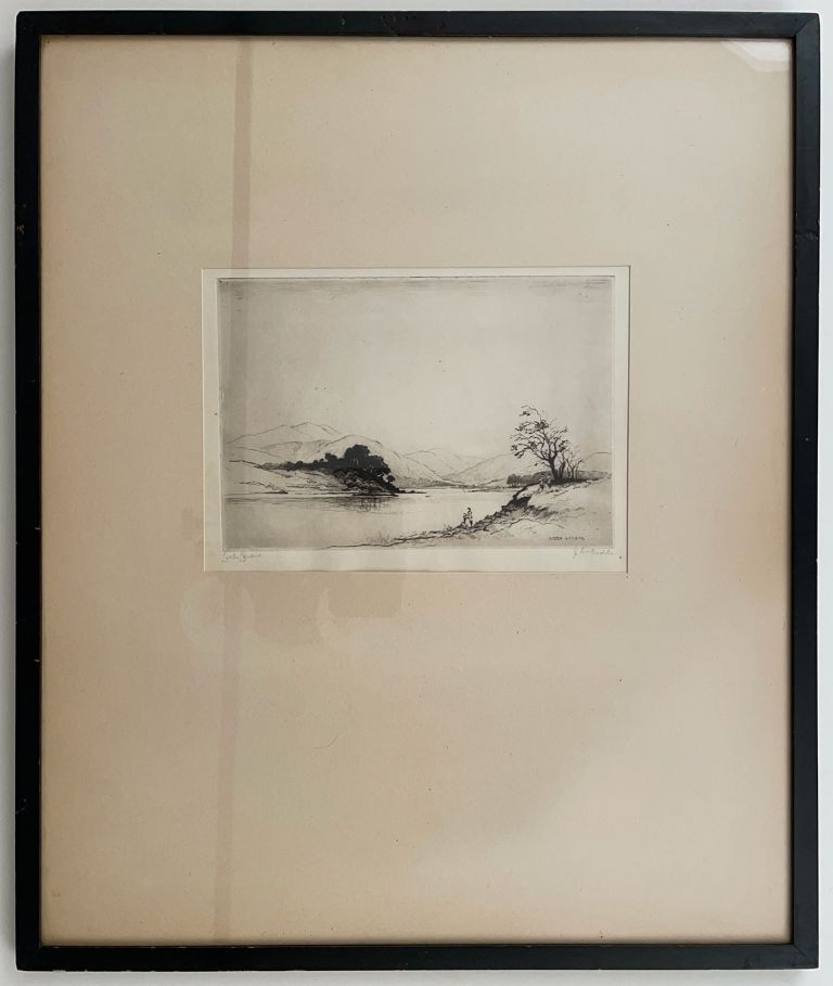 Loch Achray. TOGETHER WITH Loch Leven. GROUP OF TWO ORIGINAL FRAMED ETCHINGS. SCOTISH SCENES ETCHINGS.