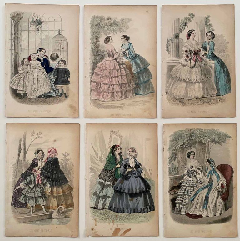 Engravings from Godey's Ladys Book and Les Modes Parisiennes. GROUP OF 17. 1850s FASHION - CRINOLINES.