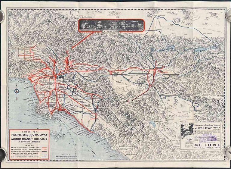 Map Showing Routes in Southern California of the Pacific Pacific Electric Railway and Motor Transit Company with Connecting Lines. CALIFORNIA - LOS ANGELES - PACIFIC ELECTRIC RAILWAY.