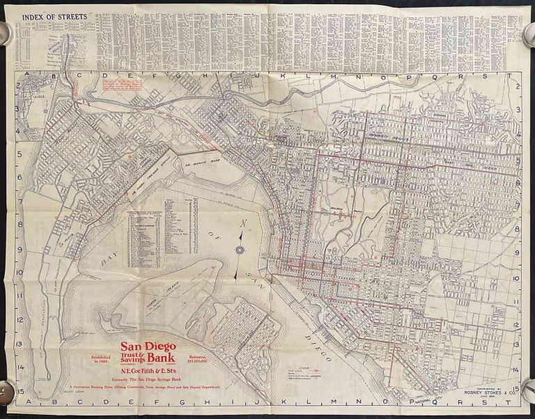 San Diego California. Street Guide and Automobile Road Map of San Diego City, County & Imperial Valley. CALIFORNIA - SAN DIEGO.
