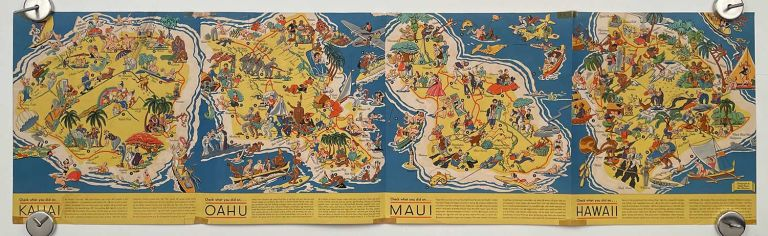 Sun Fun! in Hawaii. A new map series showing how and where to play in the islands. HAWAII - SCARCE RUTH TAYLOR WHITE MAP.